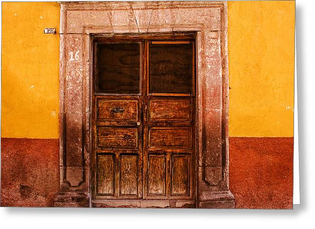 Colorful Southwest Greeting Cards - Yellow Wall Wooden Door Greeting Card by Carol Leigh