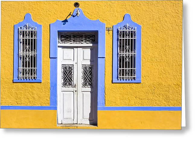 Old Door Greeting Cards - Yellow Walls And Moorish Architecture in Mexico Greeting Card by Mark Tisdale