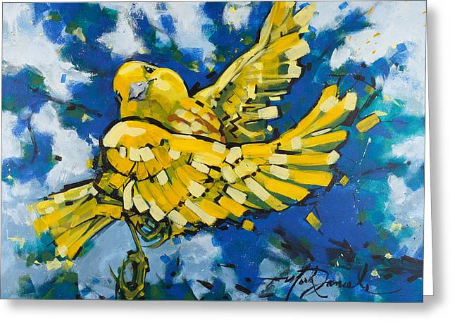 Yellow Warbler Greeting Cards - Yellow Warblers Joy Greeting Card by Mark Daniels