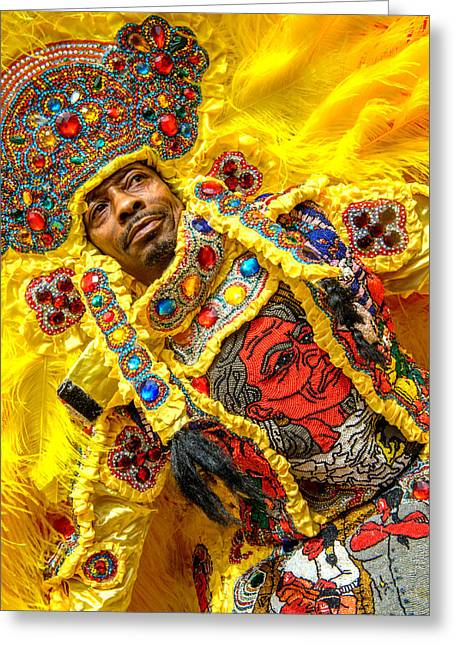 Nola Photographs Greeting Cards - Yellow Warrior Indian Greeting Card by Randy Harris