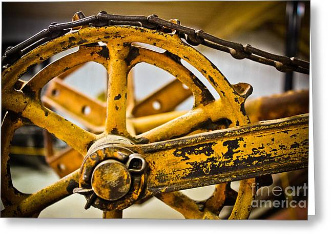 Rotate Greeting Cards - Yellow Wheel Gear Greeting Card by Colleen Kammerer