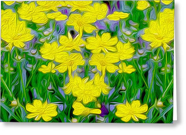 Flower Still Life Mixed Media Greeting Cards - Yellow Wild Flowers Greeting Card by Jon Neidert