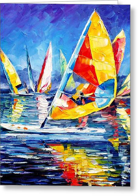 Popular Art Greeting Cards - Yellow Yacht - PALETTE KNIFE Oil Painting On Canvas By Leonid Afremov Greeting Card by Leonid Afremov