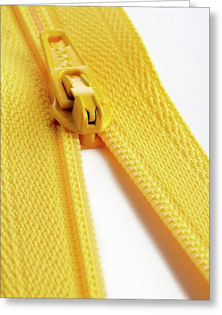 Yellow Zip Greeting Card by Science Photo Library