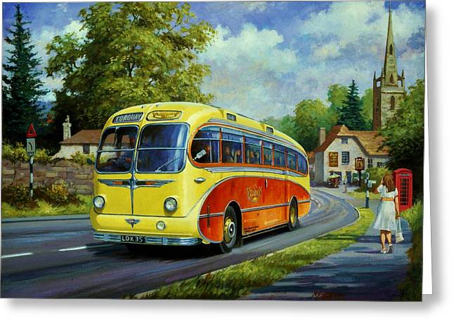 Yelloways Seagull Coach. Greeting Card by Mike  Jeffries