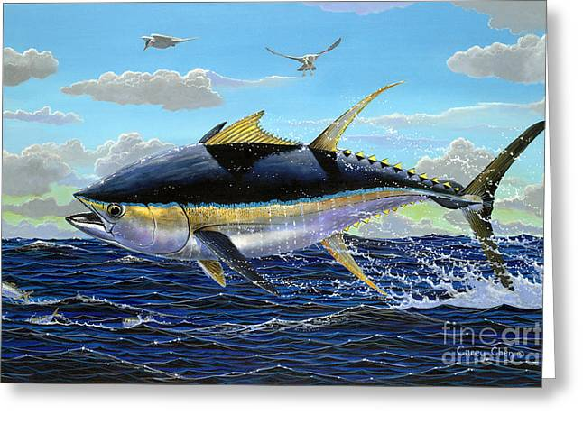 Mackerel Greeting Cards - Yellowfin crash Off0081 Greeting Card by Carey Chen