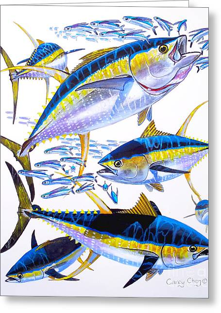 Deadliest Catch Greeting Cards - Yellowfin Run Greeting Card by Carey Chen