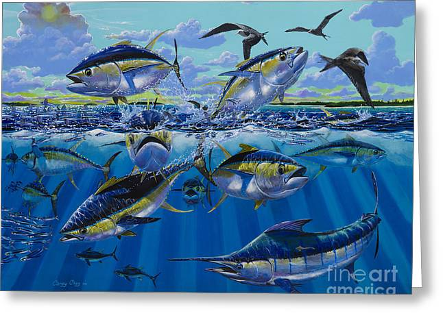 Big Game Greeting Cards - Yellowfin run Off002 Greeting Card by Carey Chen
