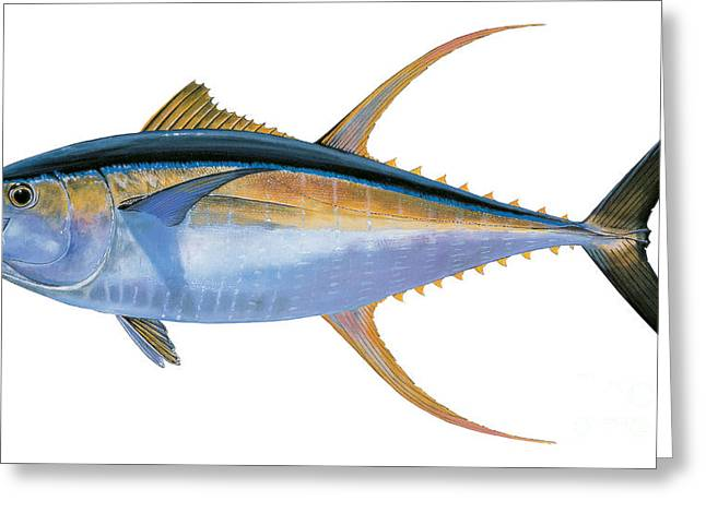 Bonefish Greeting Cards - Yellowfin Tuna Greeting Card by Carey Chen