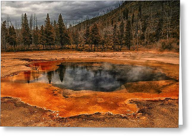 Hot Springs Yellowstone Midway Hot Springs Yellowstone Hot Greeting Cards - Yellowstone 3 Greeting Card by Ingrid Smith-Johnsen