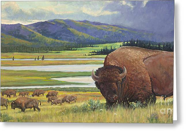 Bison Mixed Media Greeting Cards - Yellowstone Bison Greeting Card by Rob Corsetti