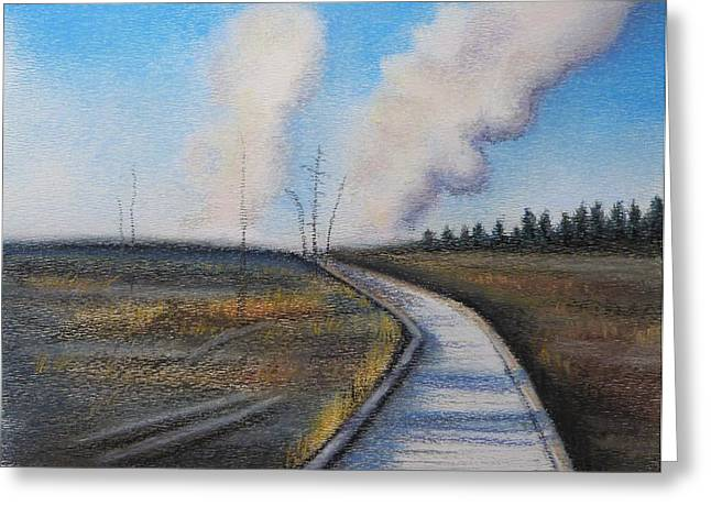 Craters Pastels Greeting Cards - Yellowstone boardwalk 2 Greeting Card by Lucy Deane
