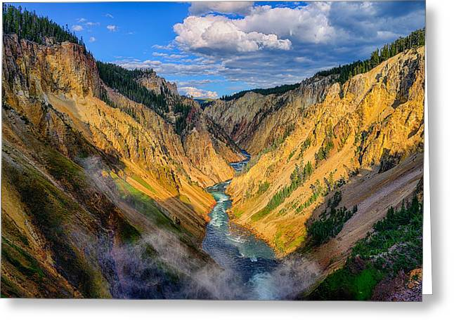 Grand Canyon Of The Yellowstone Greeting Cards - Yellowstone Canyon View Greeting Card by Greg Norrell