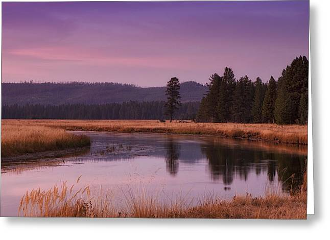 Yellowstone Greeting Cards - Yellowstone Evening Greeting Card by Andrew Soundarajan