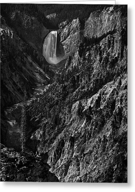 Black And White Waterfall Greeting Cards - Yellowstone Falls Greeting Card by Andrew Soundarajan