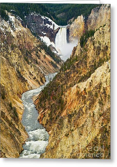 Wyoming Photography Greeting Cards - Yellowstone Falls from Artist Point Greeting Card by Jamie Pham