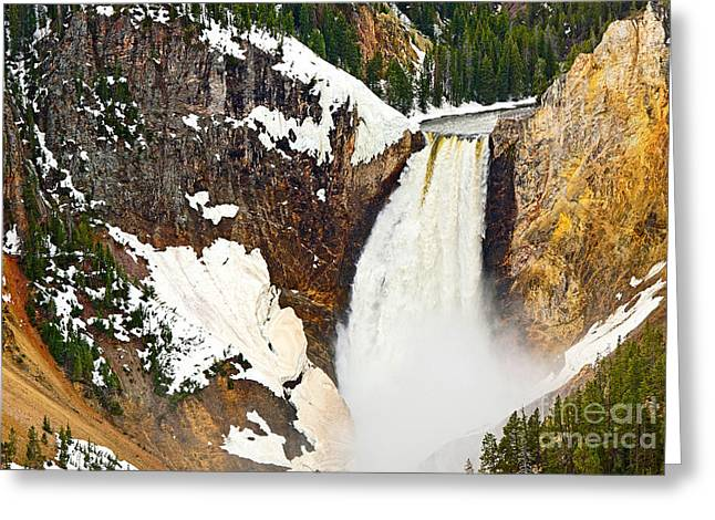 Wyoming Photography Greeting Cards - Yellowstone Falls from Lookout Point. Greeting Card by Jamie Pham