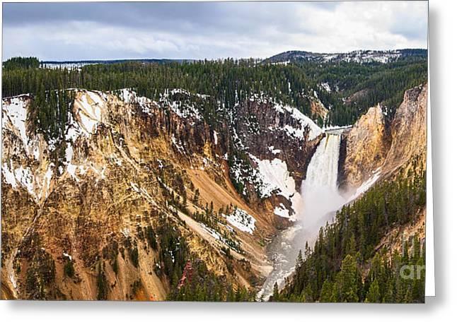 Wyoming Photography Greeting Cards - Yellowstone Falls Panorama Greeting Card by Jamie Pham