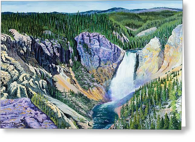 Yellowstone Falls Greeting Card by Timithy L Gordon