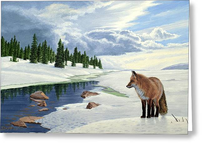 Foxes Greeting Cards - Yellowstone Fox Greeting Card by Paul Krapf