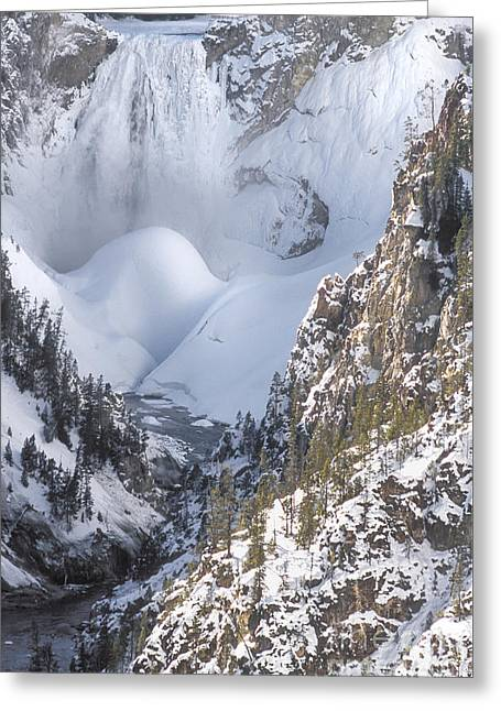 Grand Canyon Of The Yellowstone Greeting Cards - Yellowstone -  Lower Falls in Winter Greeting Card by Sandra Bronstein