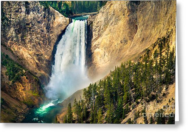 Haybale Greeting Cards - Yellowstone Lower Waterfalls Greeting Card by Robert Bales