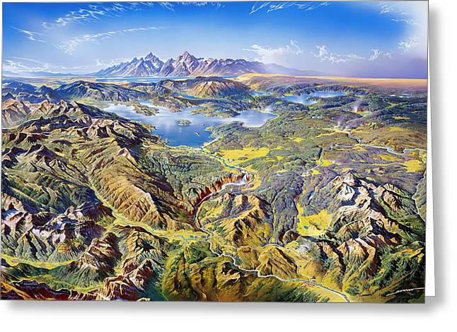 Mountain Valley Drawings Greeting Cards - Yellowstone National Park Greeting Card by Heinrich Berann NPS