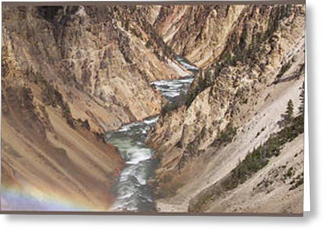Photography By Thomas Woolworth Greeting Cards - Yellowstone National Park Montana  3 Panel Composite Greeting Card by Thomas Woolworth