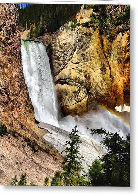 Water Flowing Greeting Cards - Yellowstone Lower Falls Rainbow Greeting Card by Dan Sproul