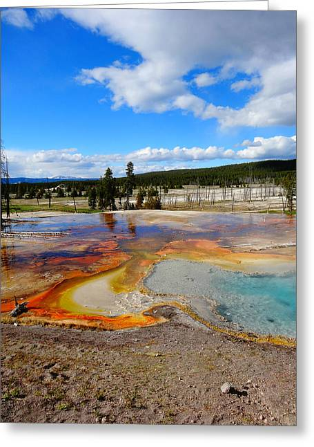Super Volcano Greeting Cards - Grand Prismatic Spring Greeting Card by Dan Sproul