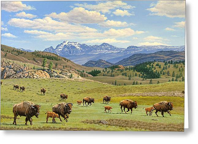 Buffalo Paintings Greeting Cards - Yellowstone Spring Greeting Card by Paul Krapf