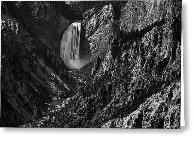 Black And White Waterfall Greeting Cards - Yellowstone Waterfall Greeting Card by Andrew Soundarajan