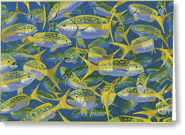 Scuba Diving Paintings Greeting Cards - Yellowtail Frenzy In0023 Greeting Card by Carey Chen