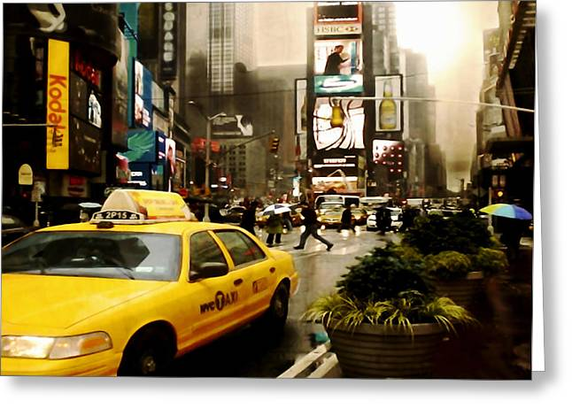 Vertigo Digital Art Greeting Cards - Yelow Cab at Time Square New York Greeting Card by Yvon van der Wijk