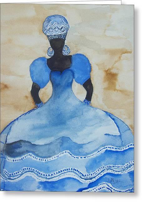 Shango Greeting Cards - Yemanya Greeting Card by Dimples Gibbs