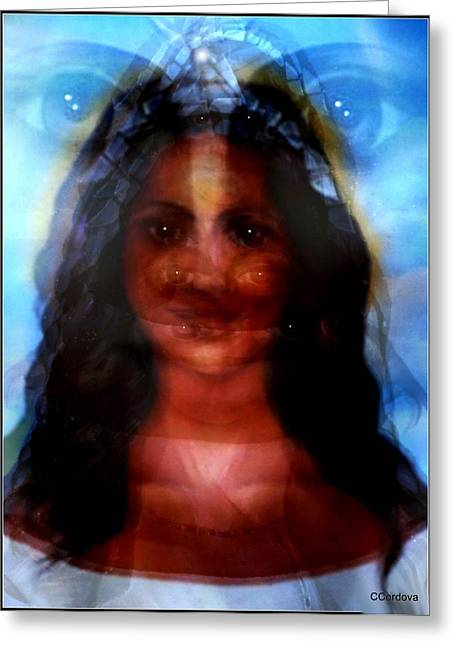 Best Sellers -  - Spiritual Portrait Of Woman Greeting Cards - Yemaya -She Sees All Greeting Card by Carmen Cordova