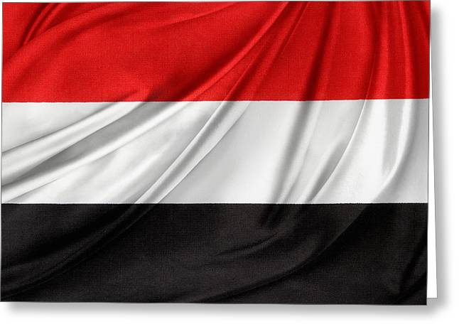 Shiny Fabric Greeting Cards - Yemen flag Greeting Card by Les Cunliffe