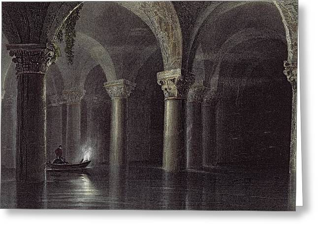 Vaulted Ceilings Greeting Cards - Yere Batan Serai Istanbul, Engraved Greeting Card by William Henry Bartlett