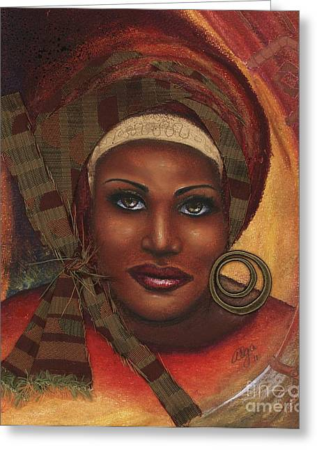 African-americans Pastels Greeting Cards - Yes . . . One Woman Can . . .  Greeting Card by Alga Washington