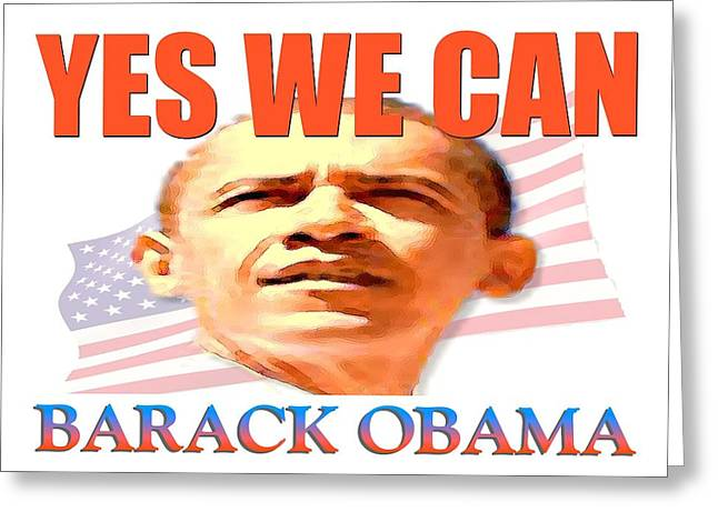 Obamania Greeting Cards - Yes We Can - Barack Obama Poster Greeting Card by Peter Fine Art Gallery  - Paintings Photos Digital Art