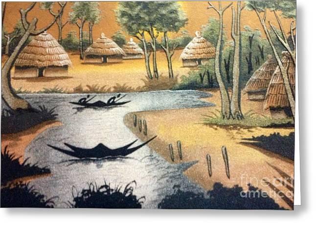Faniart Africa America Greeting Cards - Yesayah Village  Greeting Card by Fania Simon