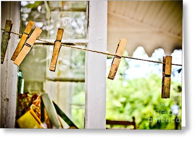 Clothes Pins Greeting Cards - Yesterdays Chores Greeting Card by Colleen Kammerer
