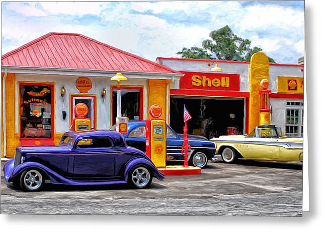 Antic Car Greeting Cards - Yesterdays Shell Station Greeting Card by Michael Pickett