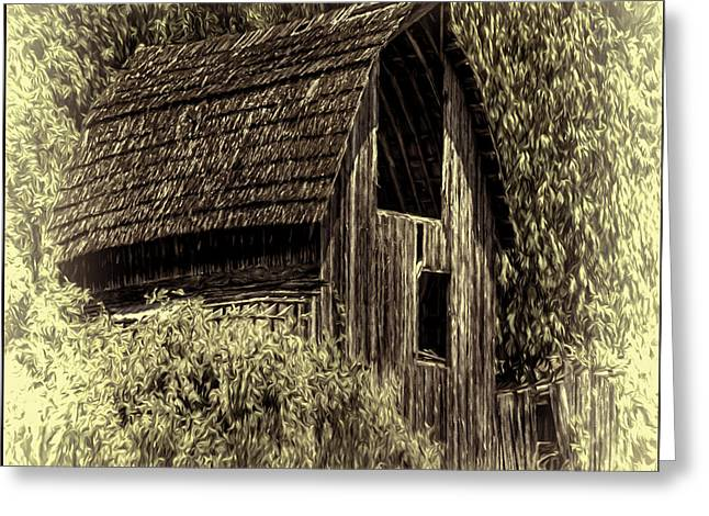 Outbuildings Greeting Cards - Yesteryear Barn Greeting Card by Jean OKeeffe Macro Abundance Art