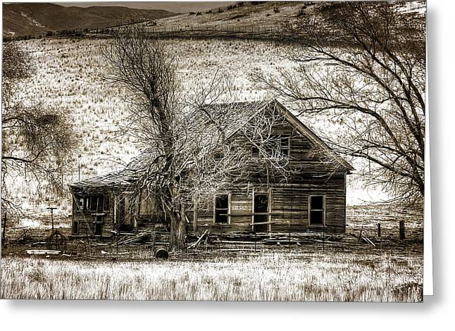 Abandoned House Pyrography Greeting Cards - Yesteryears Home Greeting Card by Stan Manning