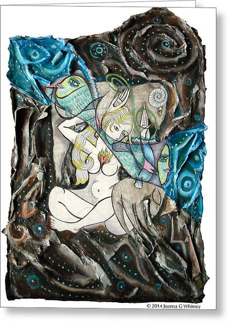 Mythological Greeting Cards - Yeti and The Mermaid Series III Synastry Greeting Card by Joanna Whitney