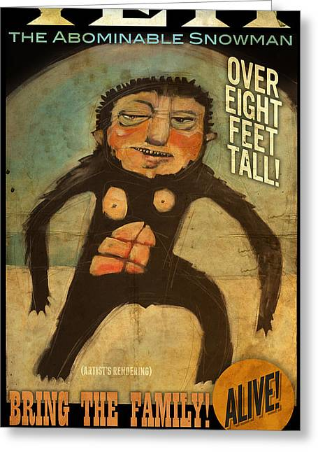 Yeti Greeting Cards - YETI poster Greeting Card by Tim Nyberg