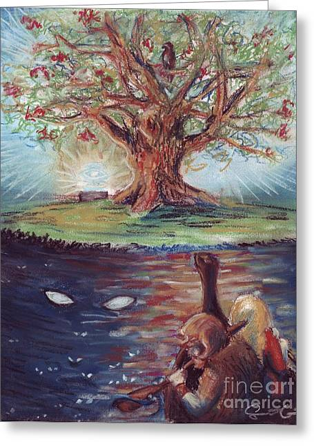 Eagles Pastels Greeting Cards - Yggdrasil - the Last Refuge Greeting Card by Samantha Geernaert