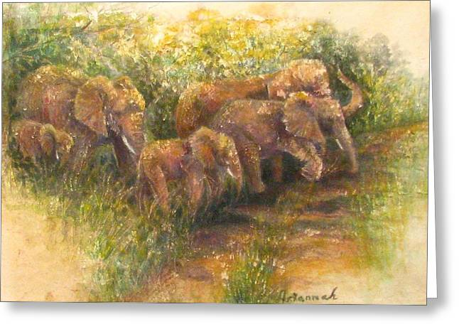 Social Herd Animals Greeting Cards - Yielding to elephants Greeting Card by Ursula Brozovich