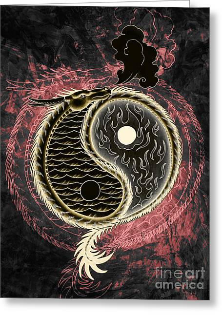 Evil And Good Digital Art Greeting Cards - Yin and Yang Graphic Greeting Card by Robert Ball